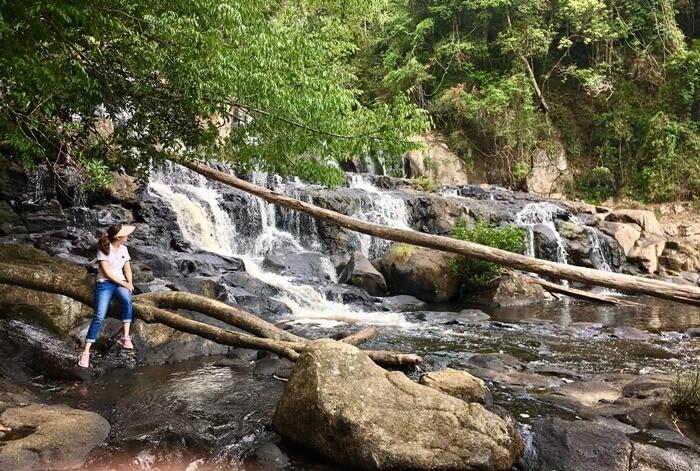 Kon Bong Gia Lai Waterfall - In dry season, waterfall flows little