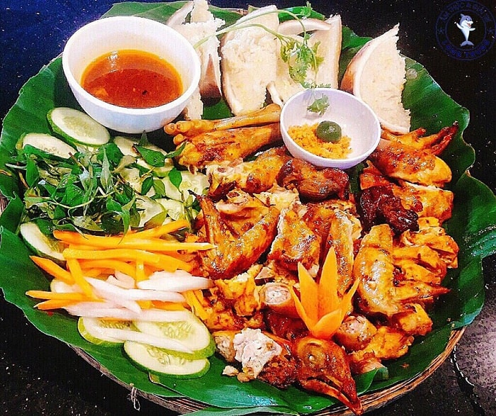 Grilled chicken - delicious food at Long Trung eco-tourism area in Tay Ninh