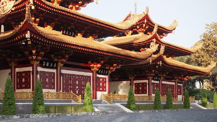 Cổng chùa Phật Quốc Vạn Thành. Ảnh: Kiến trúc Nam Cường