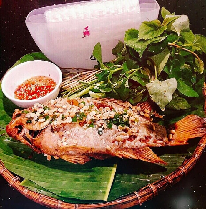 Fried fish - attractive food at Long Trung eco-tourism area in Tay Ninh