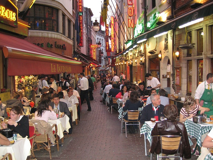 The busiest street of the Belgian capital - Rue des Bouchers food street in Brussels
