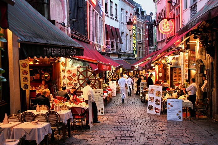 The bustling crowds are part of the culture of the Rue des Bouchers Food Street in Brussels