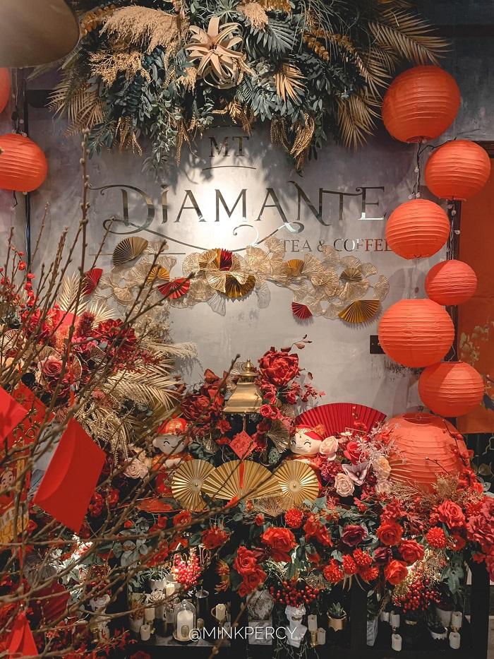 quán cafe trang trí Tết ở Hà Nội-diamante