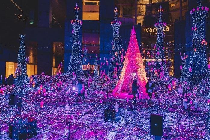 trải nghiệm mùa đông Nhật Bản - lễ hội ánh sáng Caretta Shiodome Illumination