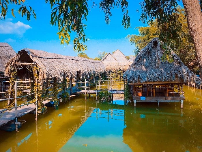 leaf hut - interesting point of Long Trung ecotourism area in Tay Ninh