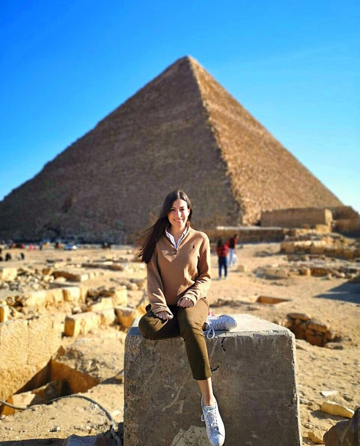 Overwhelmed by the grandeur of the Egyptian pyramid of Giza