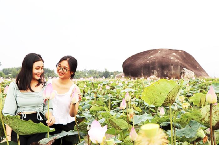 chụp với hồ sen - hoạt động hấp dẫn tại Hồ Bàu Ngừa