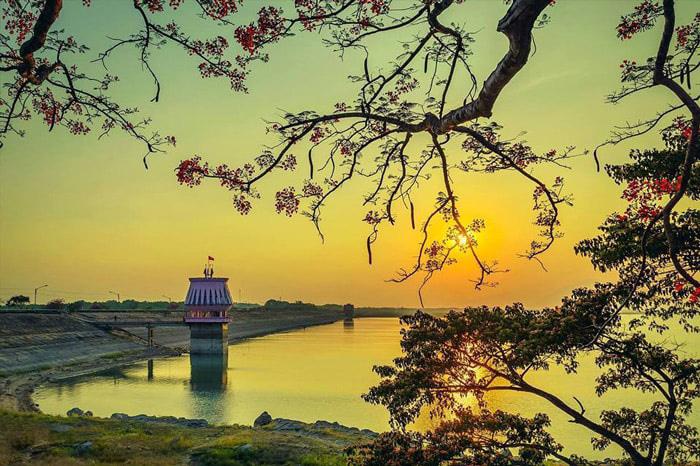 Khung cảnh hoàng hôn tuyệt đẹp trên hồ Dầu Tiếng.