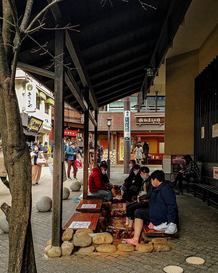 Kobe travel experience - relaxing foot bath at Arima Onsen