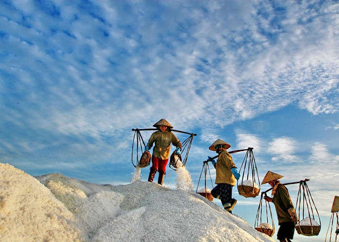 The beauty of the largest Phuong Cuu salt field in the Central region