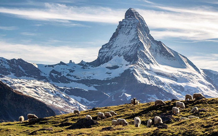 Discover the beauty of the Matterhorn mountain peak, the symbol of Switzerland
