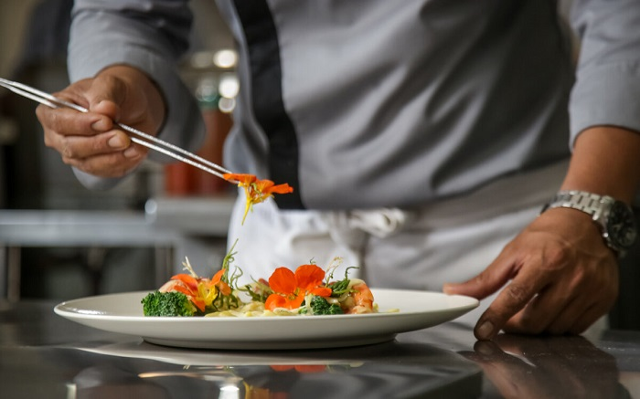 Cooking food in a Michelin-starred restaurant - French cuisine