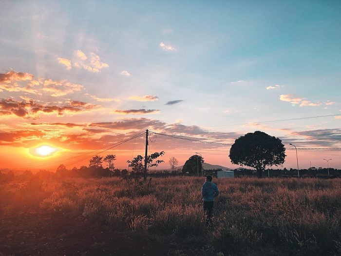 hoàng hôn - khoảnh khắc đáng nhớ tại cây cô đơn ở Đắk Lắk