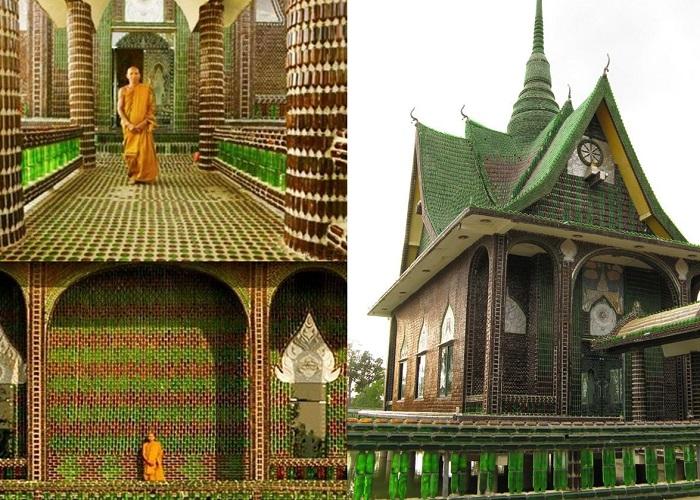 Chùa Wat Pa Maha Chedi Kaew - ngôi chùa vỏ chai độc đáo của Thái Lan