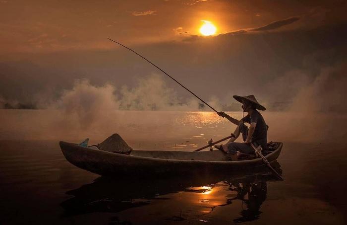 hoàng hôn - khung cảnh đẹp trên sông Quây Sơn