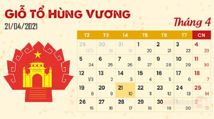 Lễ giổ tổ Hùng Vương 2021 sẽ được nghỉ mấy ngày