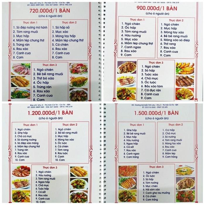 quán ăn ngon ở Cô Tô - Nhà hàng Uý Thanh thực đơn