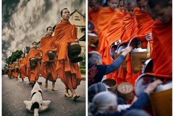 Mục sở thị lễ khất thực ở Lào khi đến thăm Cố đô Luang Prabang