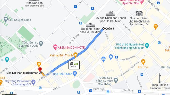 đền Mariamman Sài Gòn -cách di chuyển