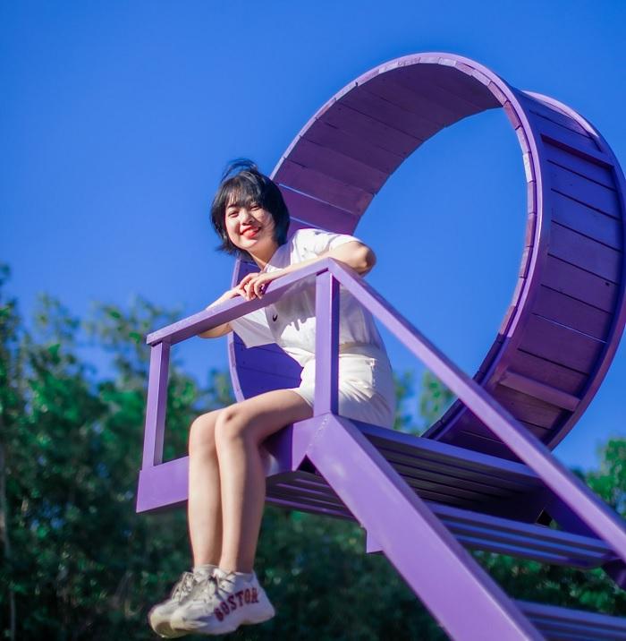 Purple wooden bridge - virtual living corner at Bung Rieng sheep hill in Vung Tau