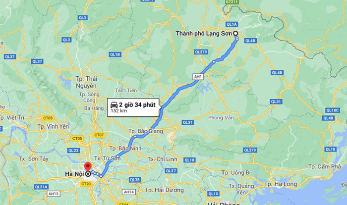 means of transportation to Lang Son - distance