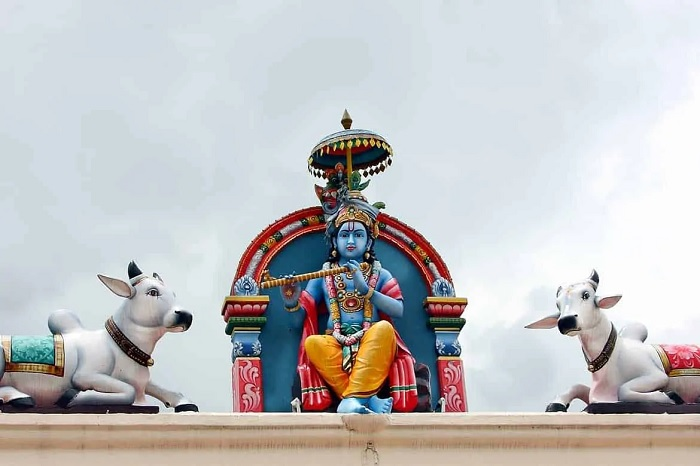 Krishna, god of compassion, tenderness and love sits to the left of gopuram - Sri Mariamman Temple