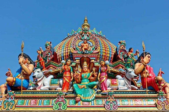 Vimana of the main shrine decorated with colorful sculptures - Sri Mariamman Temple