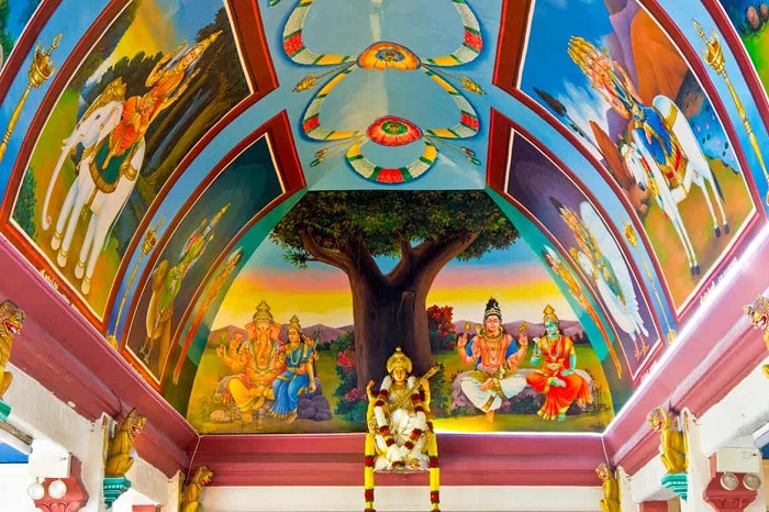 The ceiling of the temple depicts different deities - Sri Mariamman Temple