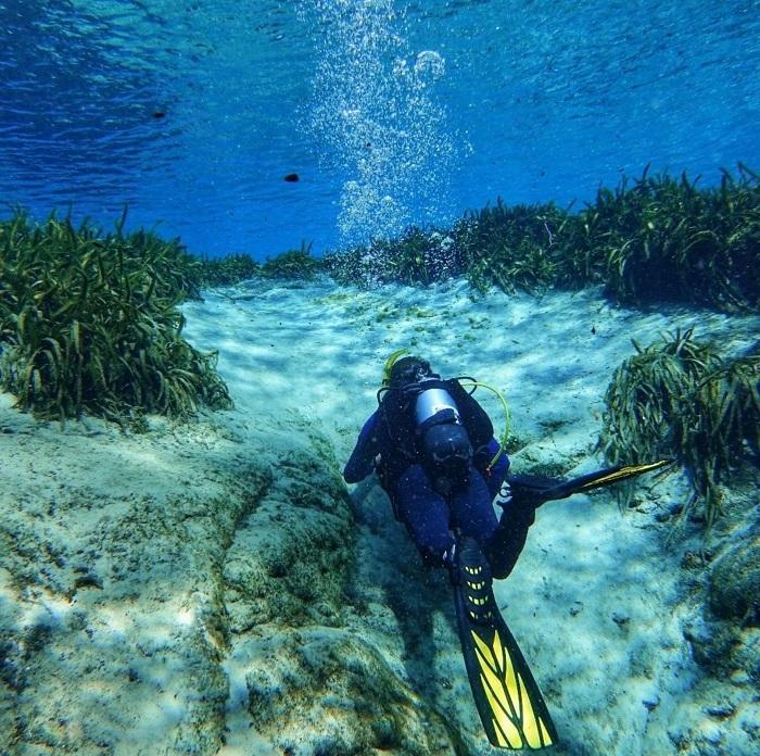 Lặn nông với ống thở khám phá vùng nước ở gần Great Blue Hole