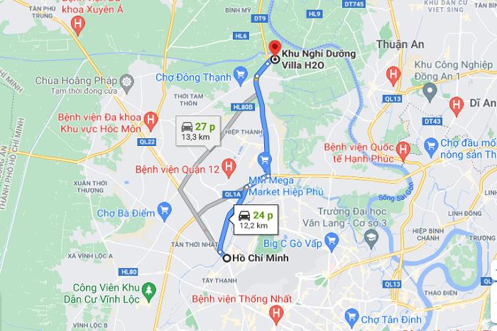 Khu sinh thái Villa H2O Hóc Môn - cách di chuyển