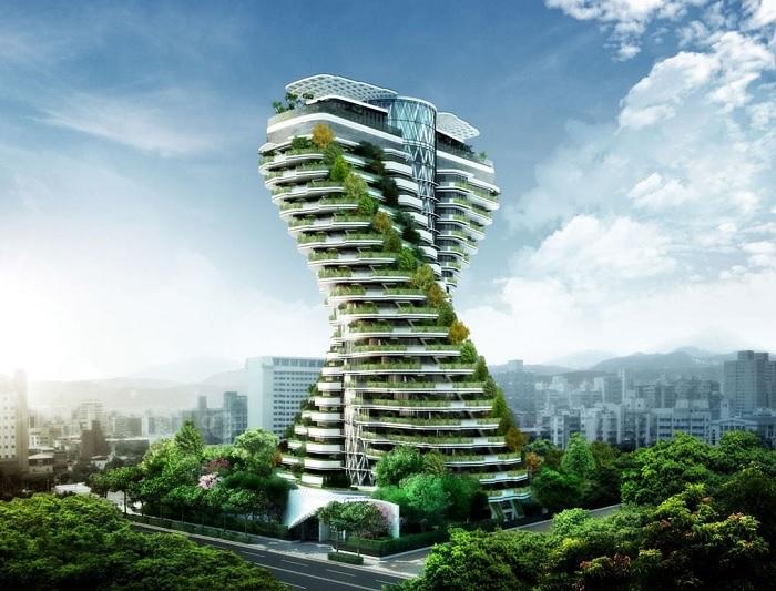 cây xanh - điểm nhấn của tòa nhà xoắn ốc Đài Loan