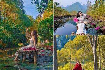 Đến Thanh Hóa ngắm suối Ấu Vĩnh An đẹp tựa phim cổ trang vào mùa thu