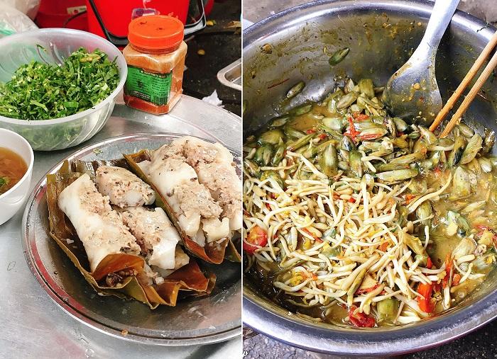 Món bánh bèo và giá bể xào - chợ ẩm thực Hải Phòng