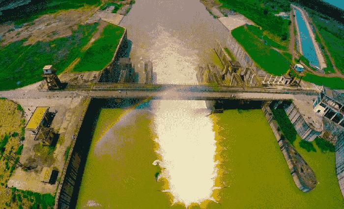 Check in đập Phước Hòa - công trình nhìn từ trên cao
