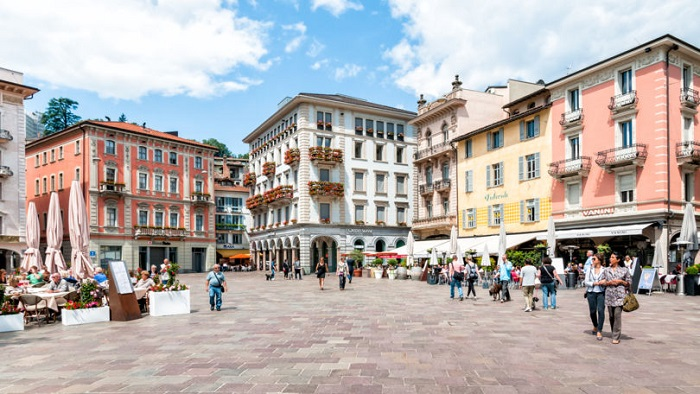 Old town Lugano Switzerland - meeting place of modern and medieval culture