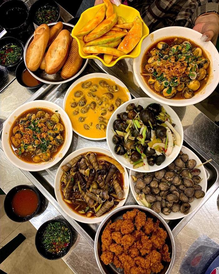 Các món ốc ở chợ ăn vặt Lạch Tray - chợ ẩm thực Hải Phòng