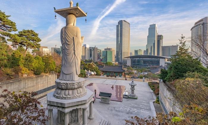 tượng Phật lớn nhất thế giới - Tượng Phật ở đền Bongeunsa