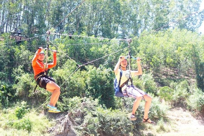 Zipline swing in Nhan Tam eco-zone