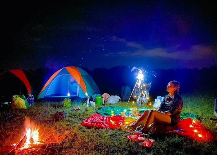 Tay Ninh tourism at night - camping on Ba Den mountain