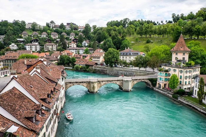 The Aare River flows through the Capital of Switzerland - The tourist experiences of Bern Switzerland