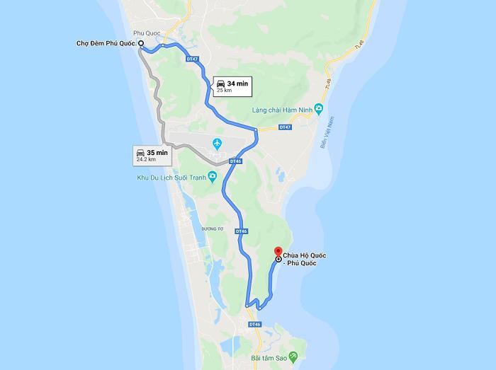 chùa Hộ Quốc ở Phú Quốc  - cách di chuyển