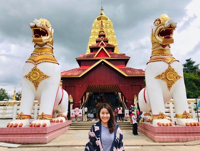 Temple of the Bodh Gaya - beautiful Tuyteej temple in Sangkhlaburi village
