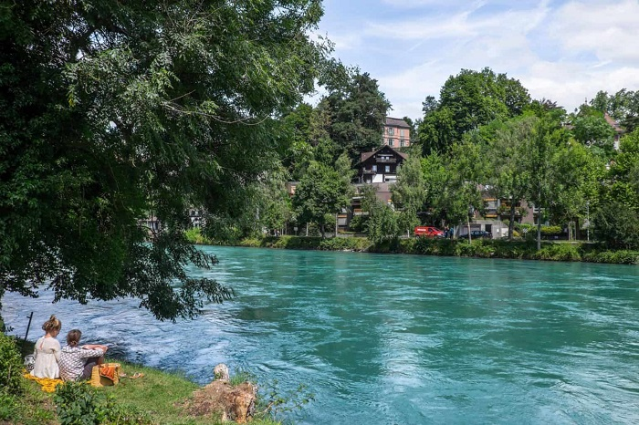 The Aare River is a favorite among locals - Bern Switzerland travel experiences