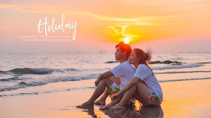 Sunset - a romantic scene at Dua Beach in Vung Tau