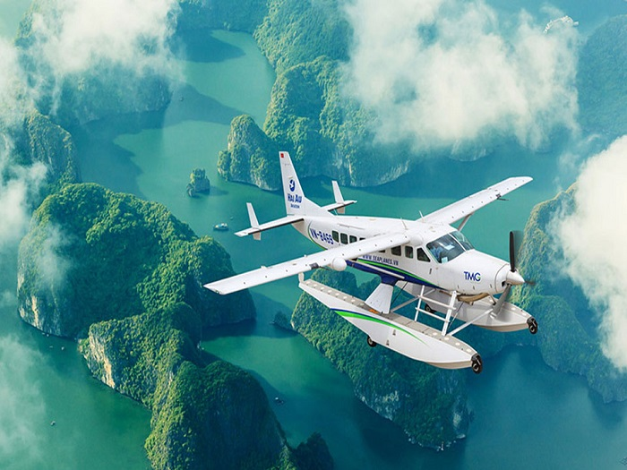 Visiting Con Coc island on Ha Long Bay - by seaplane