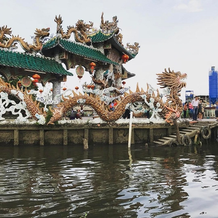 Unique architecture at the Floating Temple on the Saigon River