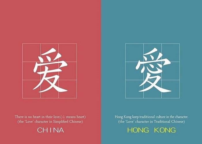 Sự khác biệt giữa Hồng Kông và Trung Quốc về chữ cái