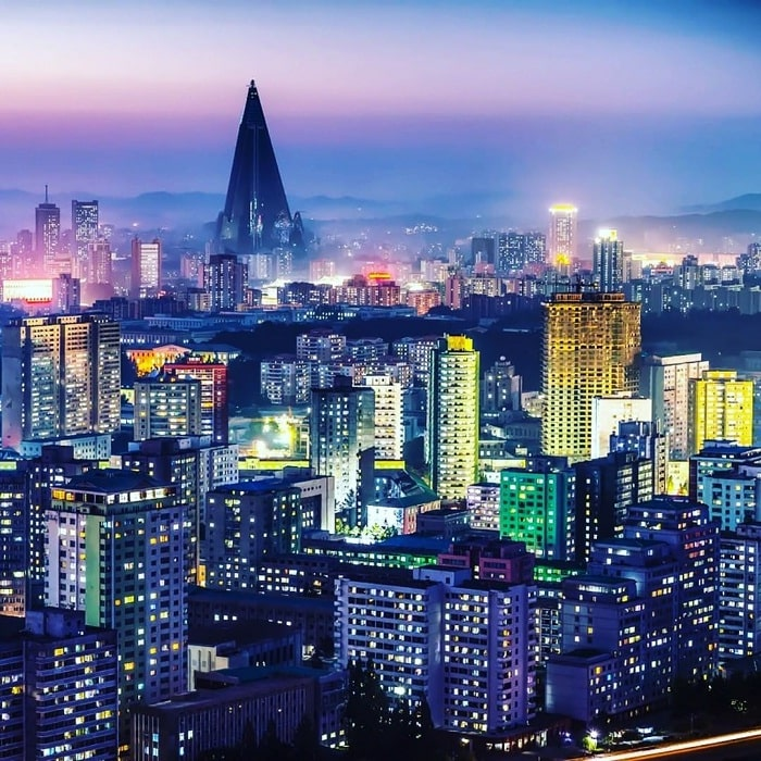 view trên tháp về đêm - kinh nghiệm du lịch Bình Nhưỡng về điểm tham quan