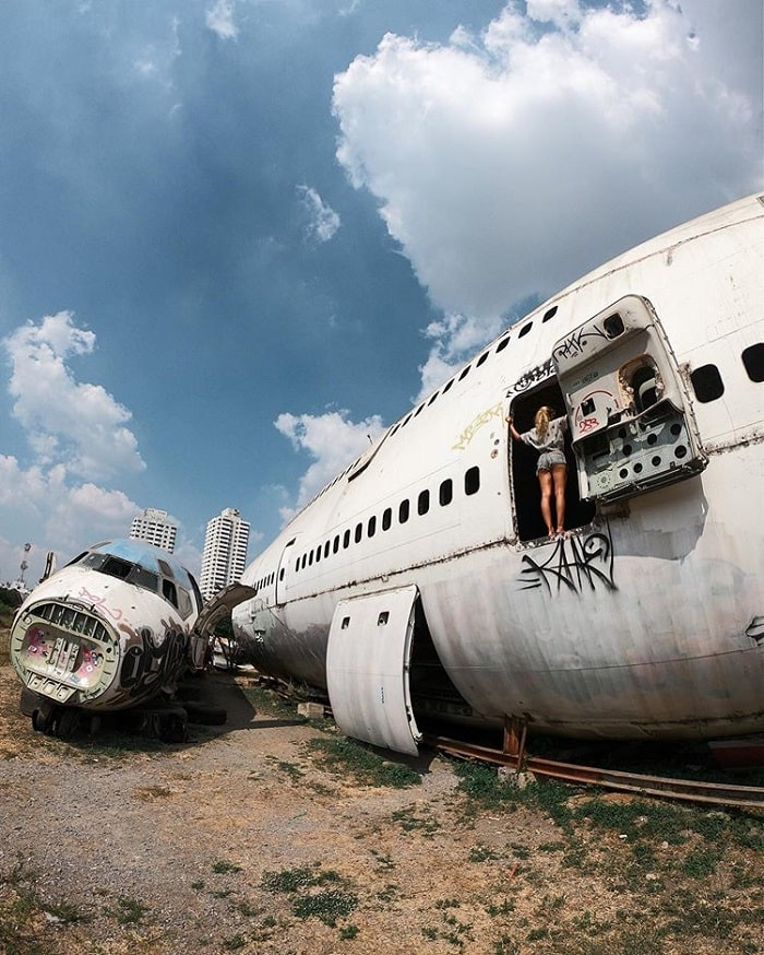 Old plane at the plane cemetery in Bangkok