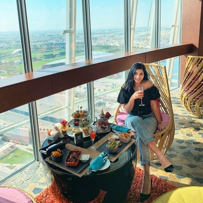 The rotating restaurant of the Aspire tower in Qatar is famous